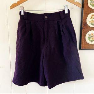 Vtg High Waisted Wool Mom Shorts
